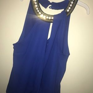 Tops - Blue sleeveless blouse with embellishments